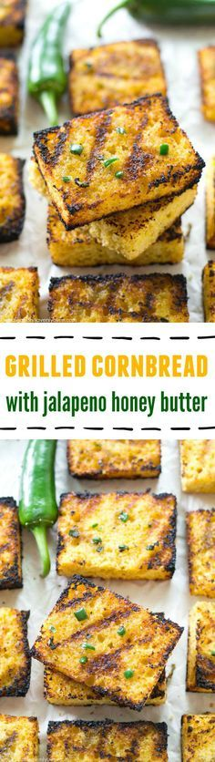 Soft, irresistible homemade cornbread squares are slathered up with a kickin' jalapeno honey butter and then quickly cooked on the grill to crisp, buttery heaven! @Sarah | Whole and Heavenly Oven