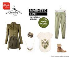 OUTFIT: LOOK MILITAR  La estética militar llega a tu armario para quedarse este otoño: pantalones estilo cargo, chaquetas abotonadas con grandes solapas, botines con cordones…. El color estrella de este look es, por supuesto, el verde. Para tus uñas te proponemos el verde cuarzo de nuestra nueva línea MAGNETIC LINE.