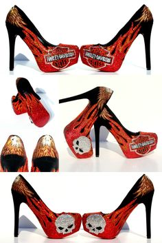 Harley Davidson Heels with Orange Flames, Harley Skulls, and Eagles.   Hand Painted with Swarovski Crystals