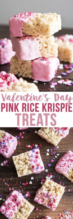 Pink Rice Krispie Treats are a fun dessert, with a gooey rice krispie treat dipped in pink chocolate and decorated with sprinkles! So fun for Valentine's Day!