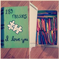 To celebrate our 6 months I bought a book chest and painted it and cut up pieces of paper with reasons i love my boyfriend on them. It wasnt hard at all and it really shows your love. 185 reasons i love him for 185 days of dating <3