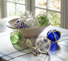 Glass Buoys, Set of 3 #potterybarn