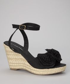 Take a look at this Black Flower Espadrille by Gina Group on #zulily today! $17