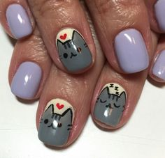 Kitty Cat Pusheen nails 8/12/15 by Tomoka Kanazawa