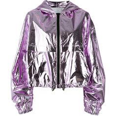 MSGM hooded jacket ($505) ❤ liked on Polyvore featuring outerwear, jackets, purple, purple jacket, hooded jacket, metallic jacket, msgm and white jacket