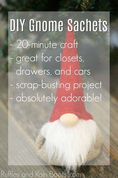 Gnome Lavender Sachet DIY and 4 Reasons You Need This! Christmas Gnome, Diy Christmas Gifts, Christmas Projects, Handmade Christmas, Christmas Ideas, Ornament Crafts, Holiday Crafts, Diy Ornaments, Beaded Ornaments