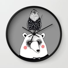 bear & bird society6.com/MiraMallius Decorative Plates, Clock, Bear, Wall, Home Decor, Room Decor, Watch, Bears, Clocks