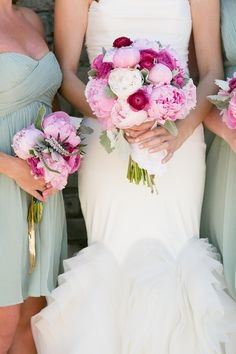Pink peony bouquets + Sage green #Bridesmaid dresses | Birds of a Feather Events