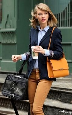 Taylor Swift takes dressy casual to a whole new level! We love everything about this outfit, especially the navy blazer! Click here to get yours! #shopthemint