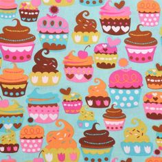 Sweet Treats Turquoise Cotton Fabric by Michael Miller Cupcakes Dessert Chocolate Pink Blue Orange Cut to Order Turquoise Cupcakes, Pink Cupcakes, Turquoise Fabric, Pink Turquoise, Green Aqua, Cotton Quilting Fabric, Cotton Quilts, Cupcake Party, Cupcake Cakes