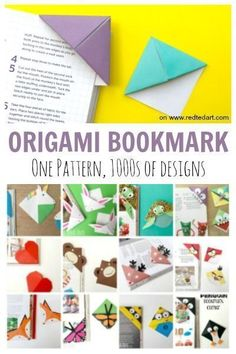 How to make a bookmark with origami. How to make a paper bookmark - one origami bookmark, of Corner Bookmark designs! We love Origami Corner bookmarks for kids Origami Stars, Origami Easy, Origami Paper, Kids Origami, Origami Boxes, Dollar Origami, Origami Flowers, Origami Folding, Diy And Crafts Sewing