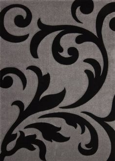 Teppich Wohnzimmer Carpet Modernes Design Blumen RUG France Paris Silber Schwarz 140x200cm