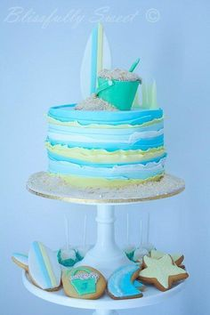 "Beach Themed Cake----love the ""waves"""