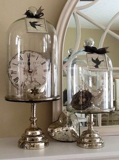 ♔ Let's Decorate, Mercury glass and cloches. Note…the bottoms could be candlestick holders. ♔ Let's Decorate, Mercury glass and cloches. Note…the bottoms could be candlestick holders. Diy Vintage, Vintage Shabby Chic, Shabby Chic Decor, Vintage Decor, Wedding Vintage, Glass Dome Display, Glass Domes, Cloche Decor, The Bell Jar