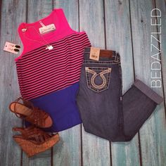 We love this cute outfit! Striped Tank $24.99 Big Star Capris $128.00 Wedges $28.99 (6 & 7) OK State Necklace $12.99 Black Drop Earrings $9.99 #bedazzledokc #boutique #okc #shopbedazzled