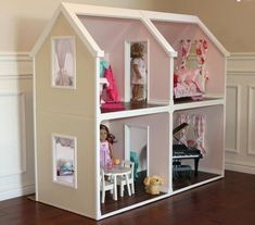 American Doll House Plans Best Of Digital Doll House Plans for American Girl Dolls 4 Rooms Casa American Girl, American Doll House, American Girl Crafts, American Girl Dollhouse, American Dolls, Large Dolls House, Doll House Plans, Barbie Doll House, Paper Crafting