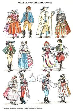 Folk costumes of different regions of Czech Republic - notice the difference caused by different wealth conditions  - the modest Western Bohemia (top/right) vs. wealthy Moravian districts (2nd row)