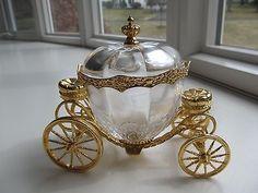FRANKLIN MINT DISNEY GLASS CINDERELLA PUMPKIN COACH CARRIAGE 24K GOLD PLATE