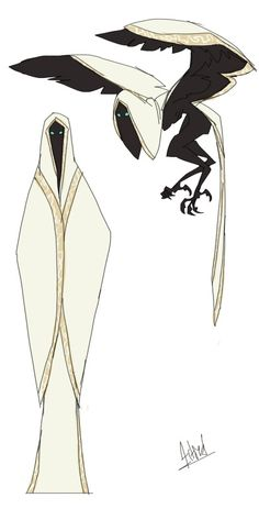 Ink Sword. Character concept design of a human-like creature, when standing. In reality, it is a bird/eagle creature. The contrast of ivory and dark black is great.