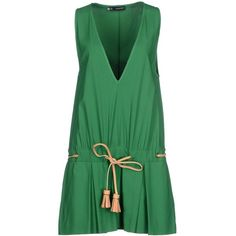 Dsquared2 Short Dress ($200) ❤ liked on Polyvore featuring dresses, green, leather cocktail dress, green sleeveless dress, short green dress, sleeveless jersey dress and green dress