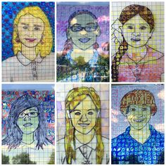5th grade students created stained glass self-portraits inspired by artist Chuck Close.