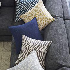 Tiger Crewel Pillow Cover - Blue Lagoon