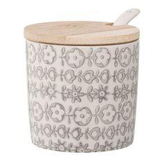 Ceramic Karine Jar with Bamboo Lid and Spoon Set