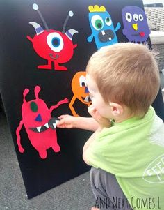 This looks cool. You could do monsters, zoo animals, favourite tv characters.... This would make a great rain day activity - make a story with the characters, take photos and create your very own book!