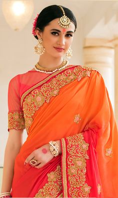 Peach & Orange Color Silk & Net Wedding Traditional saree