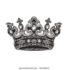 Find Filigree High Detailed Imperial Crown Element stock images in HD and millions of other royalty-free stock photos, illustrations and vectors in the Shutterstock collection. Queen Crown Tattoo, King Queen Tattoo, Tattoo Crown, Tattoo Sketches, Tattoo Drawings, Crown Clip Art, Beard Logo, Crown Drawing, Crown Tattoo Design