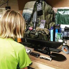 My son Mason checking out our bug out bag.  This is why we prep!