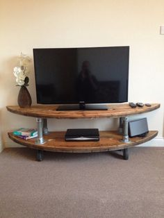 Industrial tv unit reclaimed cabledrum & chunky scaffold tube supports.Industrial coffee table/side unit on Etsy, $479.96