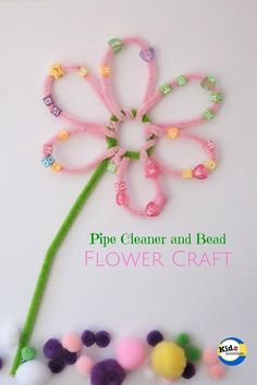 Pipe Cleaner Flower Craft by Kidz ActivitiesWe love doing Crafts for Preschool at Kidz Activities! So here you will find tons of craft ideas that are perfect for kids between the ages years old.Make this pretty pipe cleaner and bead flower craft! Flower Crafts Kids, Kids Crafts, Spring Crafts For Kids, Crafts For Kids To Make, Toddler Crafts, Preschool Crafts, Easter Crafts, Holiday Crafts, Craft Kids