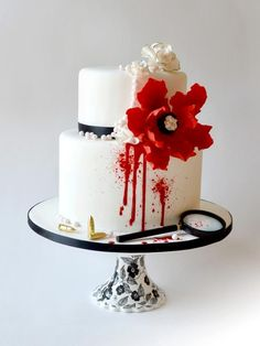 Murder Mystery Cake by Catherine's Cakery what a cool idea for a cake I know a few people who love murder mysteries this would be a great cake for them.