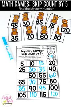 Mystery Numbers (Skip Count by This fun Grade Math activity helps students count numbers up to 120 in a hands-on way! Preschool Lesson Plans, Kindergarten Activities, Teaching Math, Learning Activities, Kids Learning, 1st Grade Math, First Grade, Grade 2, Fun Math
