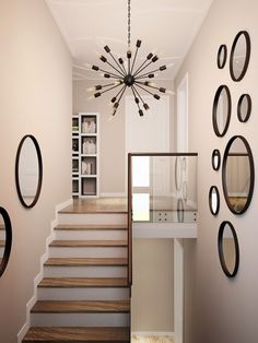 16 Best Staircase Wall Decor Ideas to Make Your Hallway Look Amazing- Stairways are one of the greatest spots in a home to hang the art. For many homeowners, the ability to beautify the round staircase wall decor can be exciting! Staircase Wall Decor, Stairway Decorating, Stair Decor, Staircase Walls, Hallway Wall Decor, Staircase Ideas, Diy Wall, Wall Mural, Home Stairs Design