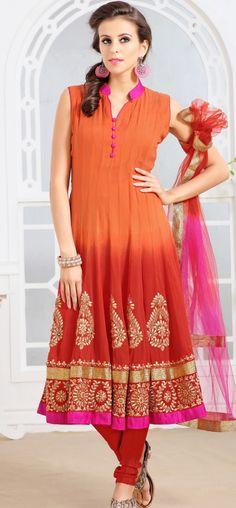 Orange and red shaded anarkali churidar: KSL2486