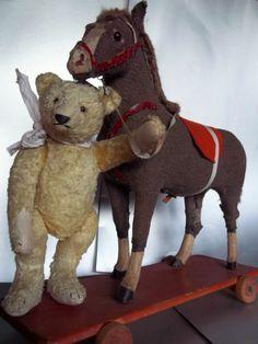 Vintage Teddy Bear & horse