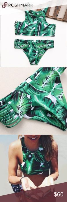{Boutique Brand} IN STOCK Bella Banana Leaf Bikini NOW IN STOCK ❃ new with tags ❃ unbranded ❃ high quality ✖️trades  ✔️offers  ✔️ bundles   Tempting and trendy for your next tropical vacay, you'll be sure to sun in this high neck banana leaf printed suit. Perfectly patterned with palm 🍃, the contrasting white background will look great with your summer tan! triangl swimwear Swim Bikinis