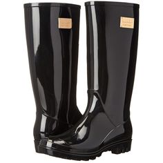 Nicole Miller New York Rainy Day Women's Rain Boots, Black ($48) ❤ liked on Polyvore featuring shoes, boots, black, mid-calf boots, rain boots, lined rubber boots, lined rain boots and black slip on shoes