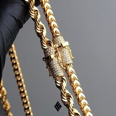 Solid 14K Yellow Gold Rope & Franco Chain With Customized Diamond Locks. Custom made to order #CustomJewelry #IFANDCO