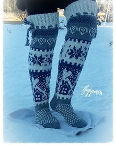 Keskeneneräinen | Kodin Kuvalehti Knitted Slippers, Wool Socks, Slipper Socks, Crochet Slippers, Knit Or Crochet, Fair Isle Knitting, Knitting Socks, Sock Leggings, Patterned Socks
