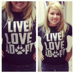 I am just making my Christmas list on Pinterest. I need this shirt. Right. Now. Live Love Adopt - Women's Glitter Shirt