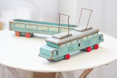 Decorative Country Living ~ Old wooden toy tram