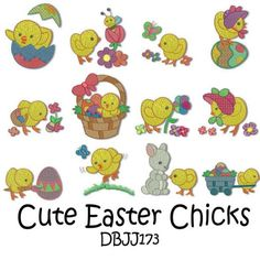Easter Chicks Machine Embroidery Designs | Designs by JuJu