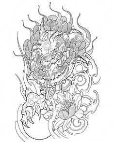 I quite simply adore the pigments, outlines, and linework. This is really a superb layout if you are looking for a #koitattoo Dragon Tattoos For Men, Japanese Dragon Tattoos, Dragon Tattoo Designs, Tattoo Sketches, Tattoo Drawings, Foo Dog Tattoo Design, Chinese Symbol Tattoos, Sketchy Tattoo, Mythology Tattoos