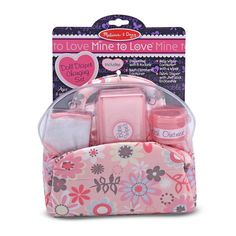 Your little one can carry this stylish Melissa & Doug Mine to Love Doll Diaper Changing Set to care for her baby doll. The diaper bag contains cushioned handles and easy-open compartments that hold a cloth diaper, wipes, and container for rash ointment. Buy Backpack, Diaper Bag Backpack, Baby Alive Dolls, Baby Dolls, Baby Barbie, Baby Doll Diaper Bag, Baby Doll Accessories, Swag, Melissa & Doug