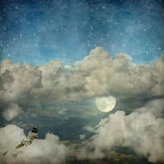 Photographer in the clouds. Surreal fine art photo by Kanelstrand