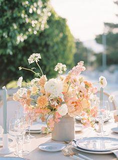 Blush Wedding Flowers, Wedding Table Flowers, Wedding Flower Arrangements, Wedding Table Centerpieces, Modern Wedding Flowers, Floral Wedding Decorations, Centrepieces, Bouquet, Spring Wedding Inspiration