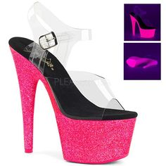 "PLEASER 6/"" Heel Stripper Dancer Comfortable UV Reactive Glitter Platform Shoes"